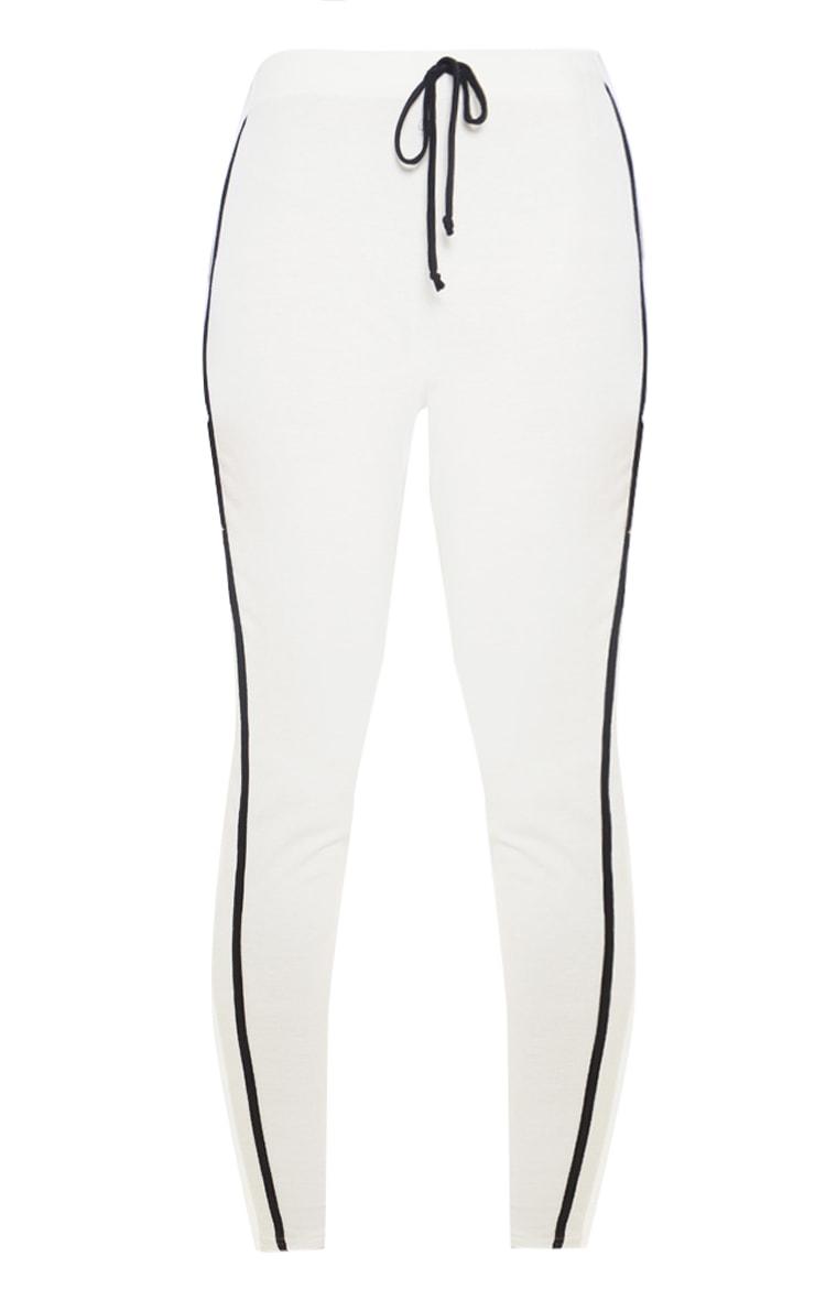 Cream Contrast Binding Tie Waist Detail Legging 3