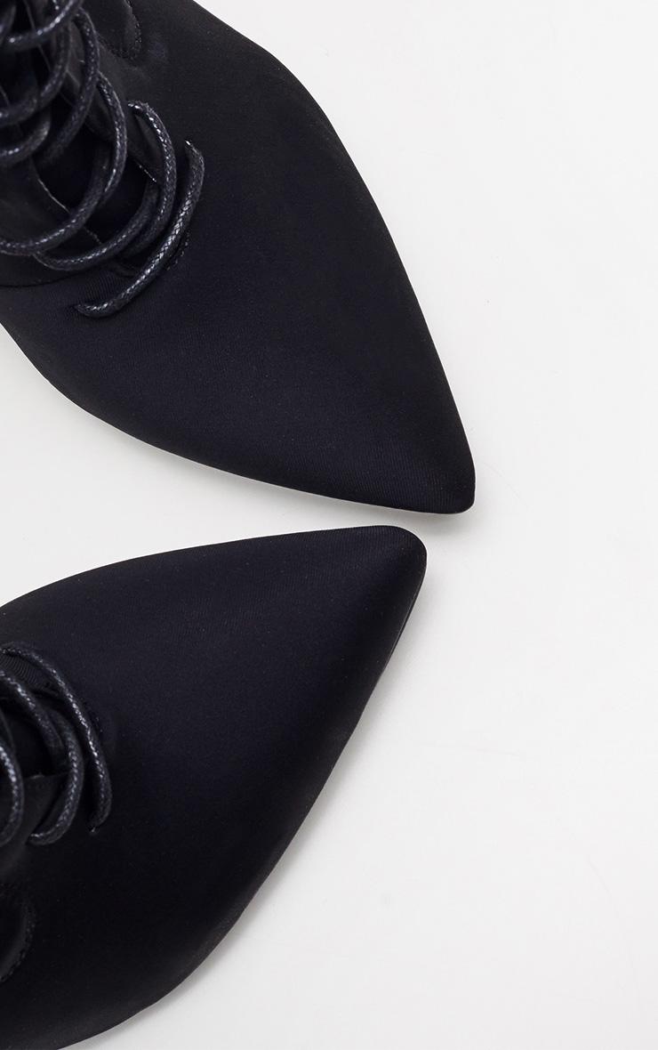Black Block Heel Lace Up Lycra Sock Boot 4