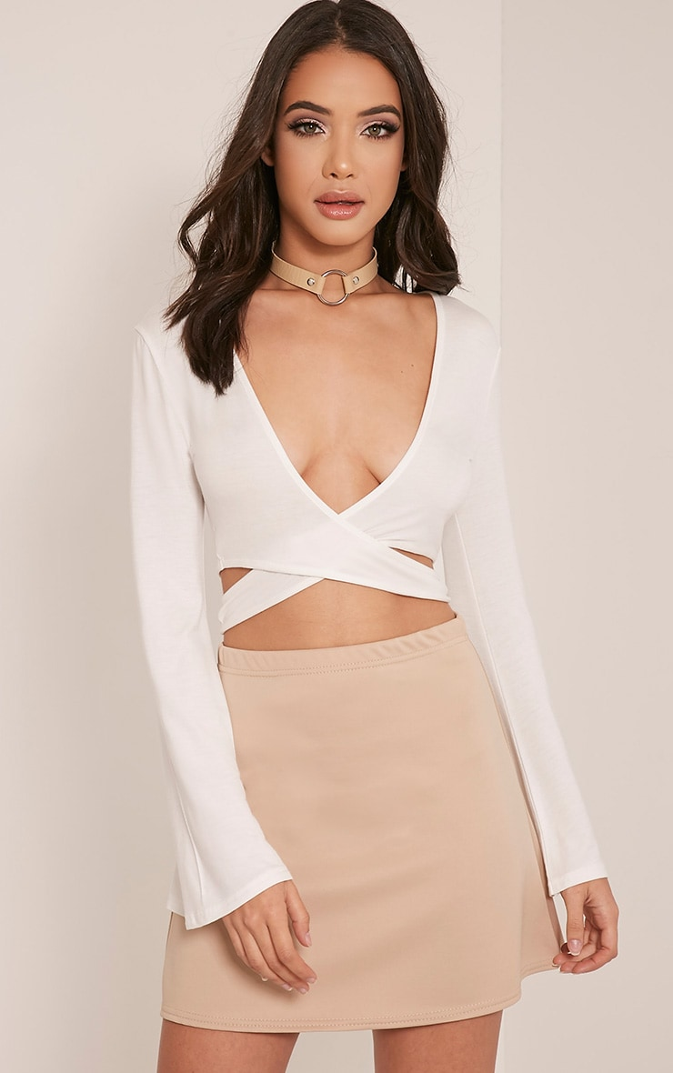 Mariella Cream Bell Sleeve Crop Top 1