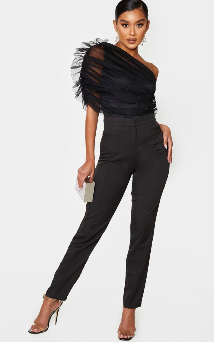 Black Sheer Ruffle One Shoulder Bodysuit 3