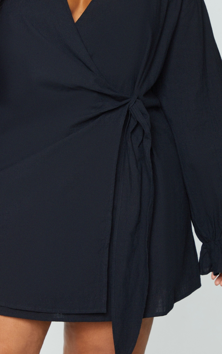 Plus Black Wrap Plunge Dress 4