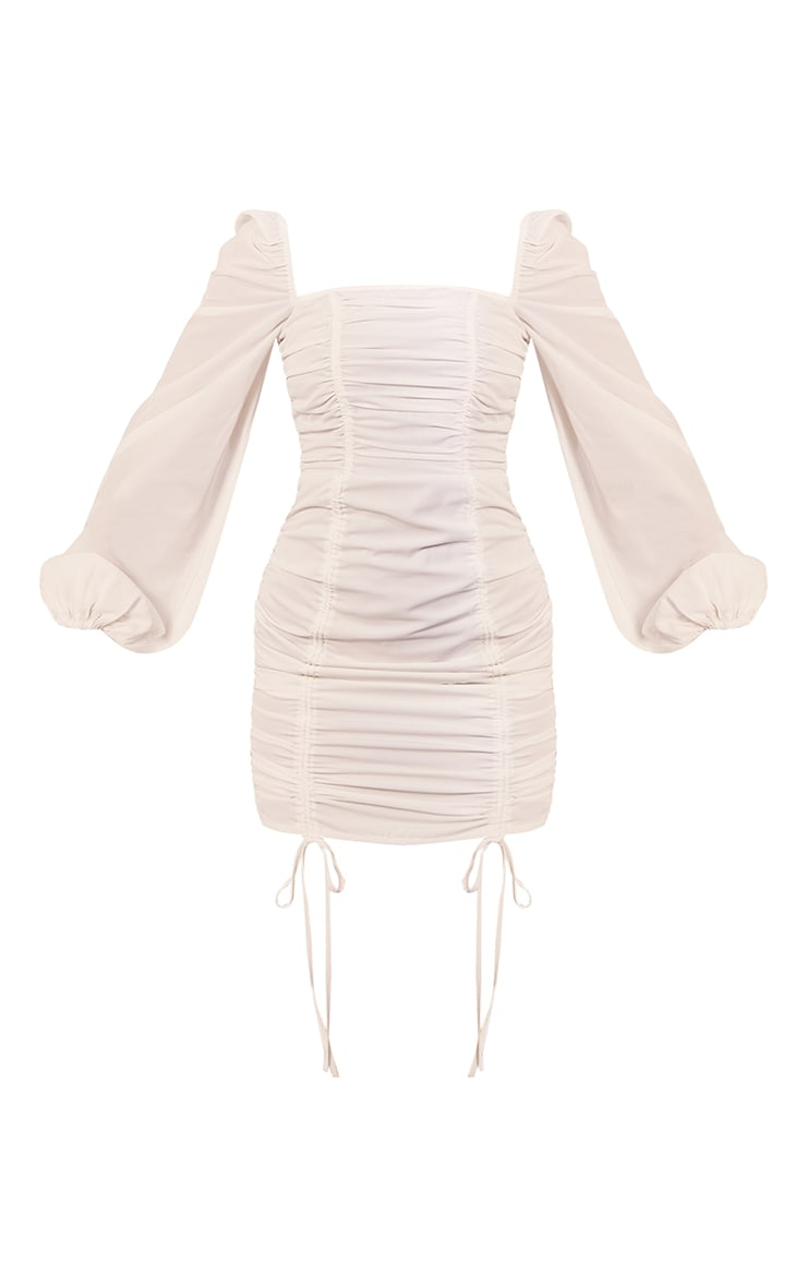 White Chiffon Double Ruched Bodycon Dress 5