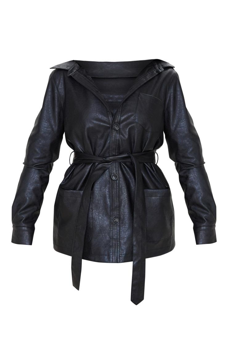 Black PU Oversized Belted Jacket  3