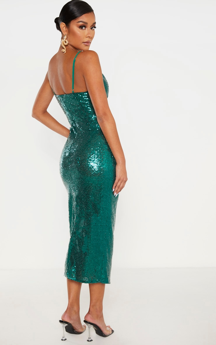 Emerald Green Sequin Wrap Over Midaxi Dress 2