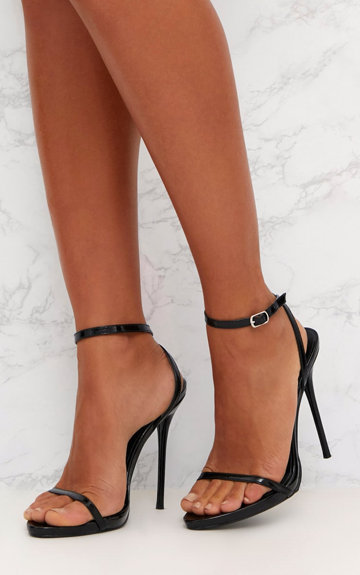 Black Patent PU Single Strap Stiletto Sandals  2