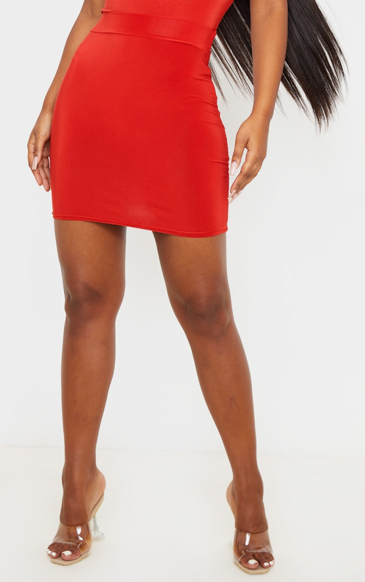 Burnt Orange Ruched Seam Detail Mini Skirt 2