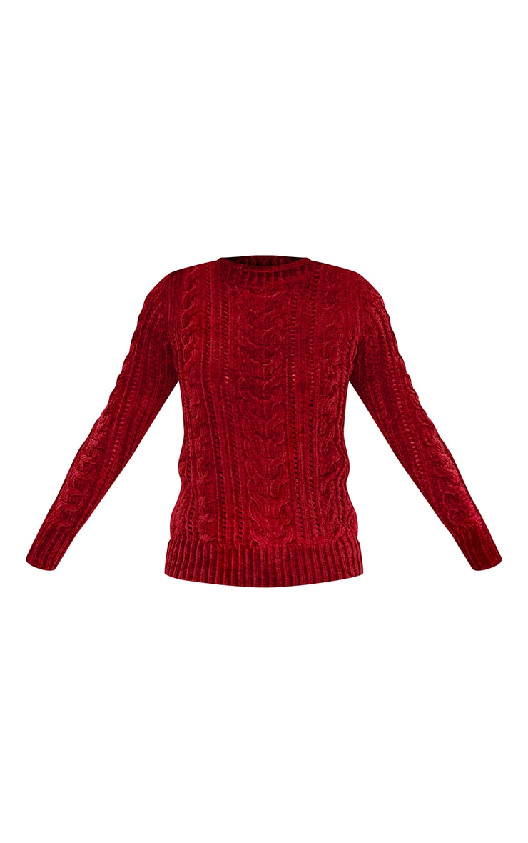 Red Chenille Cable Jumper 3