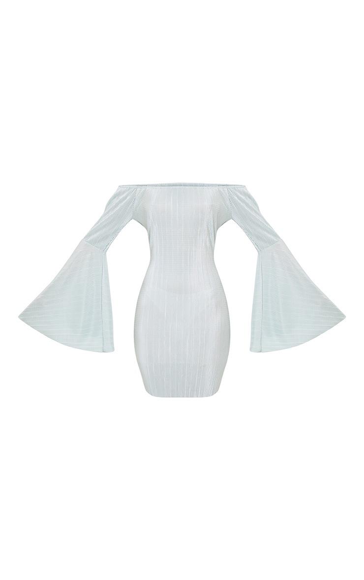 Janeriola Duck Egg Pleated Extreme Flared Sleeve Dress  3