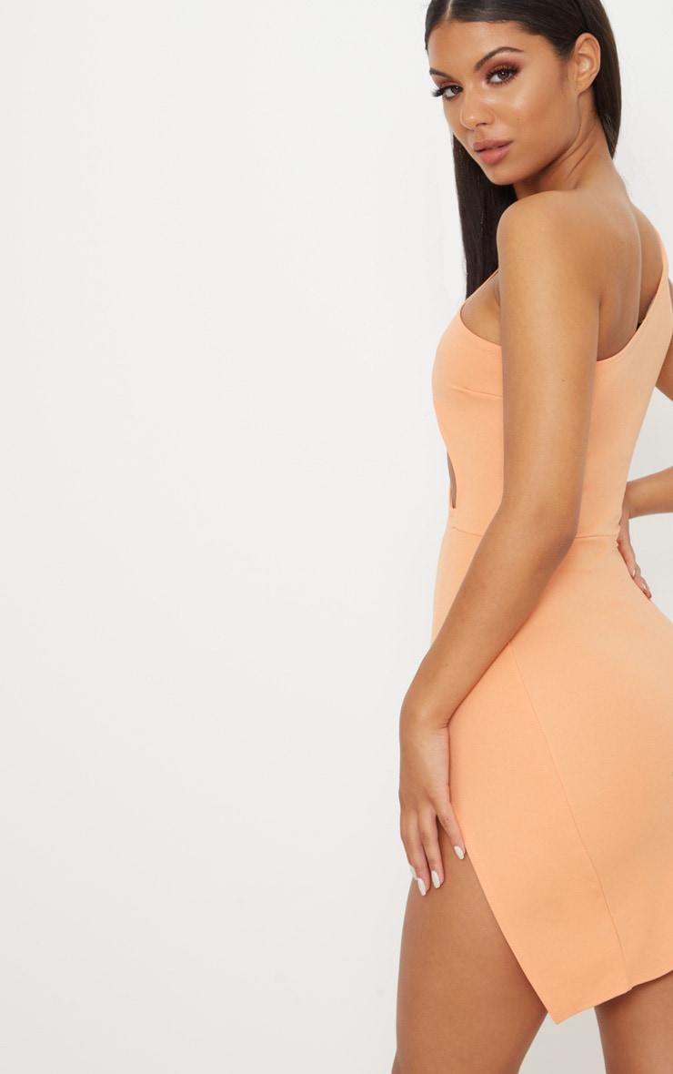 Tangerine One Shoulder Extreme Split Detail Bodycon Dress 2