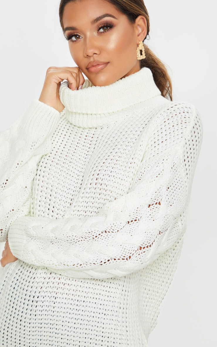 Ivory Chunky Knitted Cable Sleeve Jumper 5