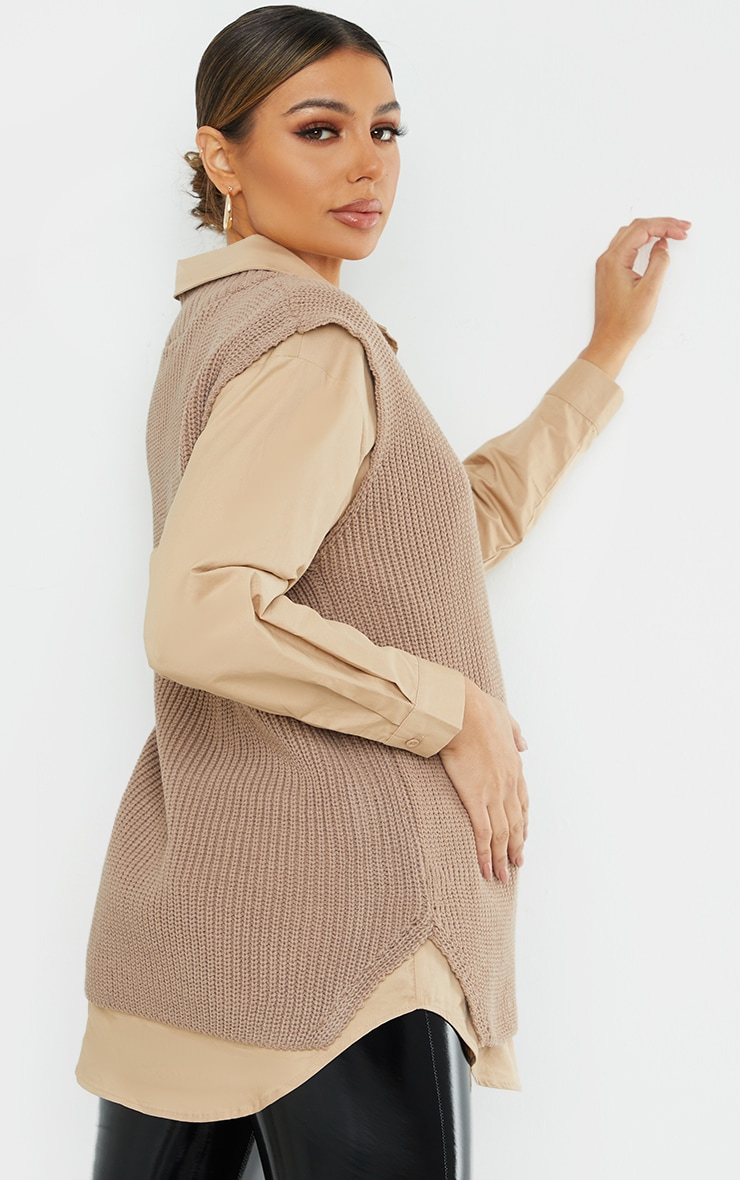 Maternity Taupe V Neck Knitted Side Split Vest 2
