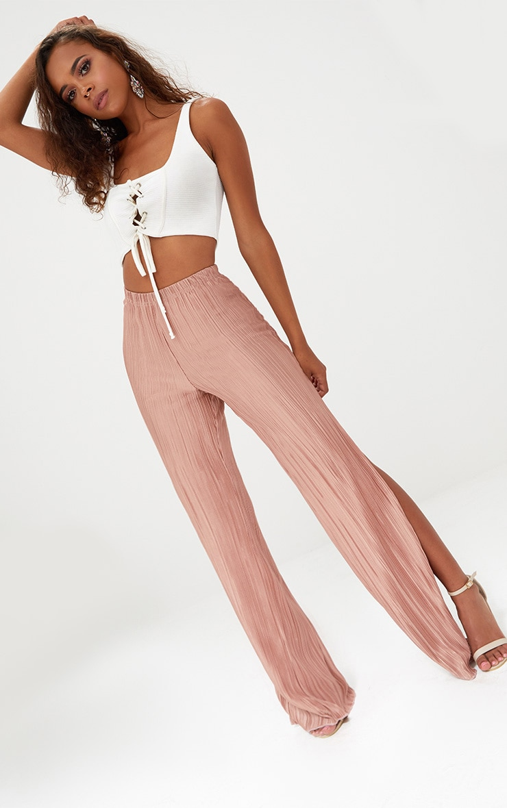 Petite Pink Pleated Split Wide Leg Trousers 1