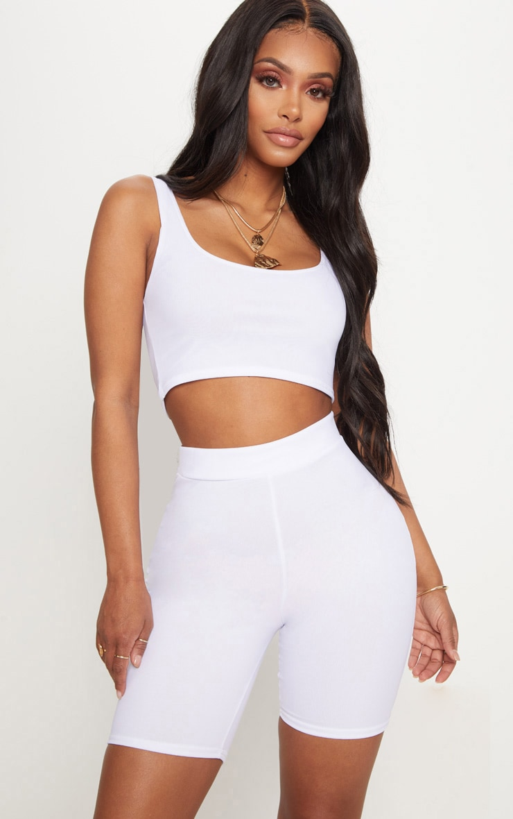 Shape - Short legging en mesh blanc 1