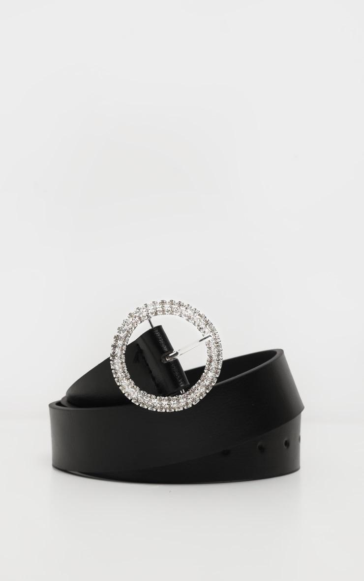 Black Diamante Circle Basic Belt 1