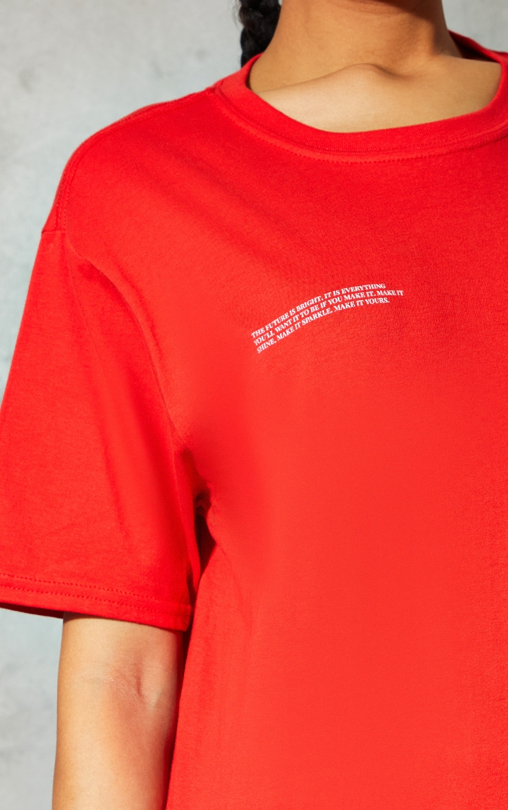 Red Marl Future Is Bright Small Print Text Short Sleeve T Shirt 4