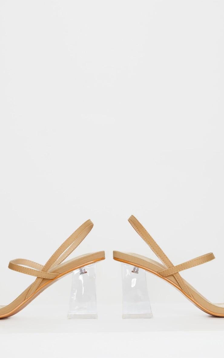 Sandales à doubles brides nude et talons carrés transparents 4