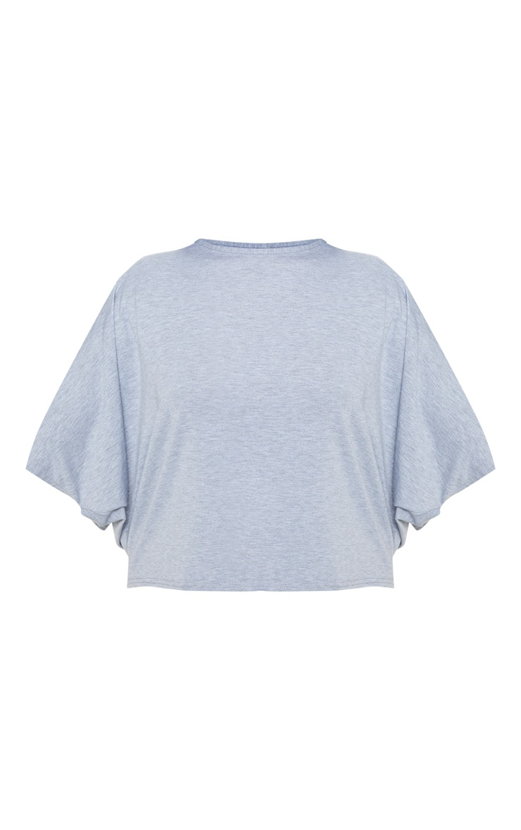 Plus Grey Marl Basic Jersey Batwing T shirt 3