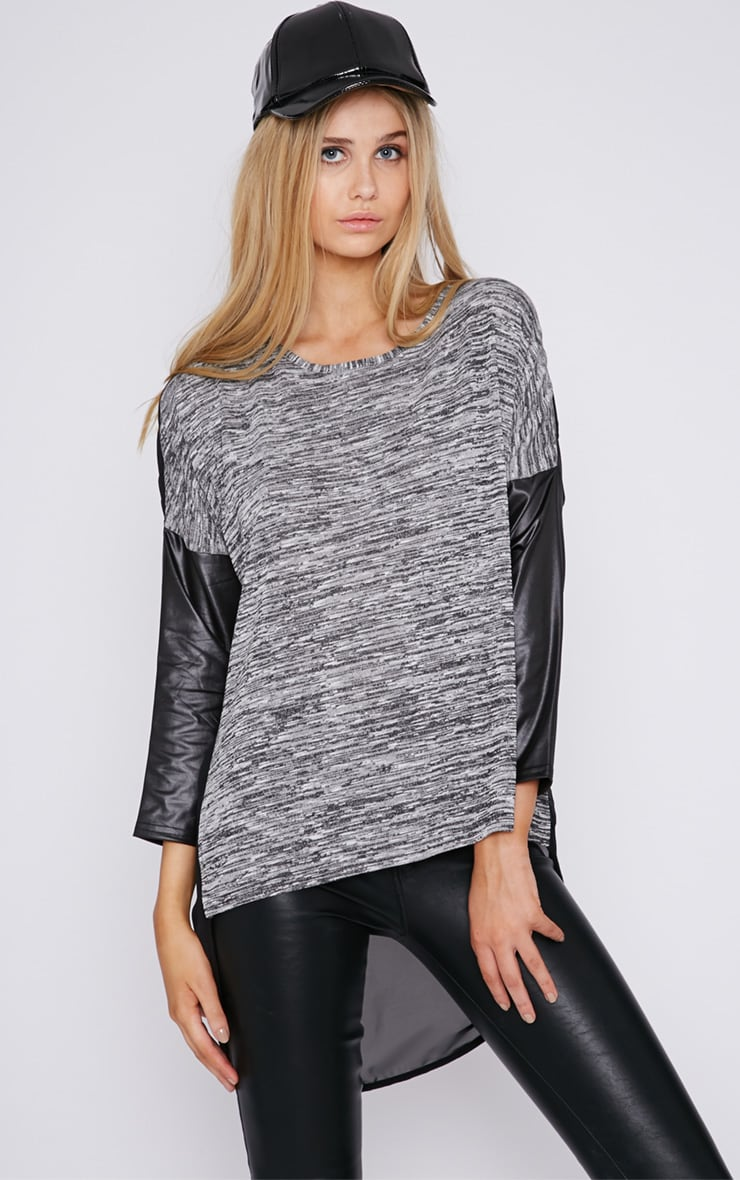 Lisette Grey Leather Sleeve Top  1