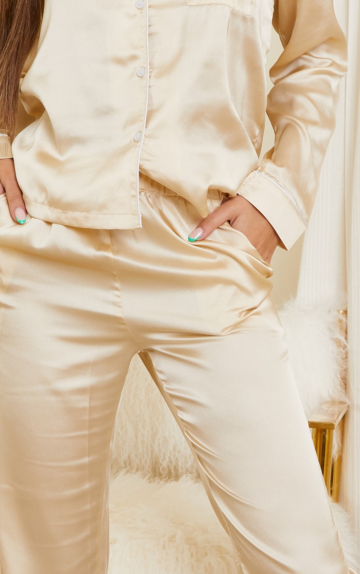 Champagne Mix And Match Piped Detail Satin PJ Pants 4