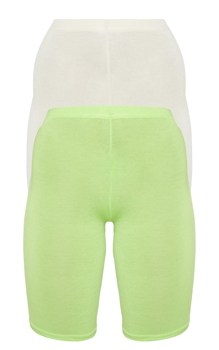 Neon Lime & Stone Basic Cycle Short 2 Pack 3