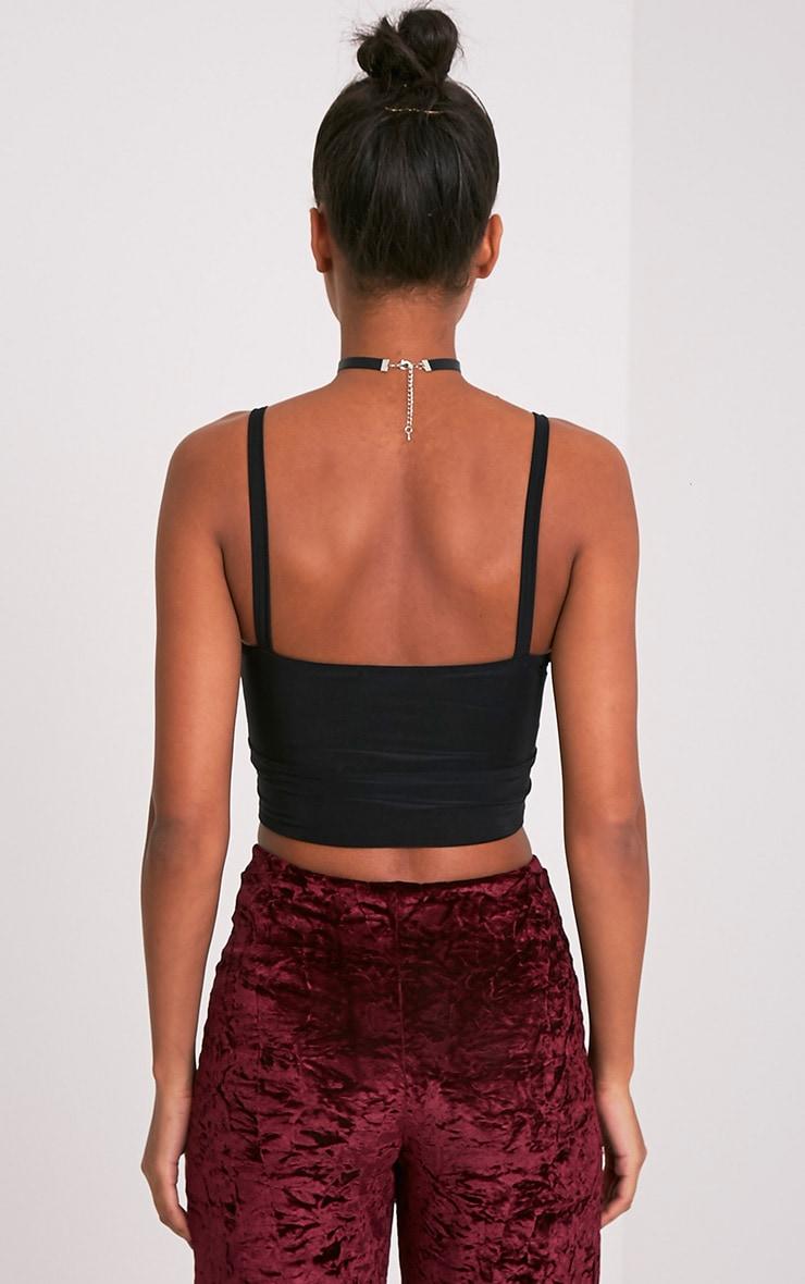 Lania Black Slinky Twisted Crop Top  2