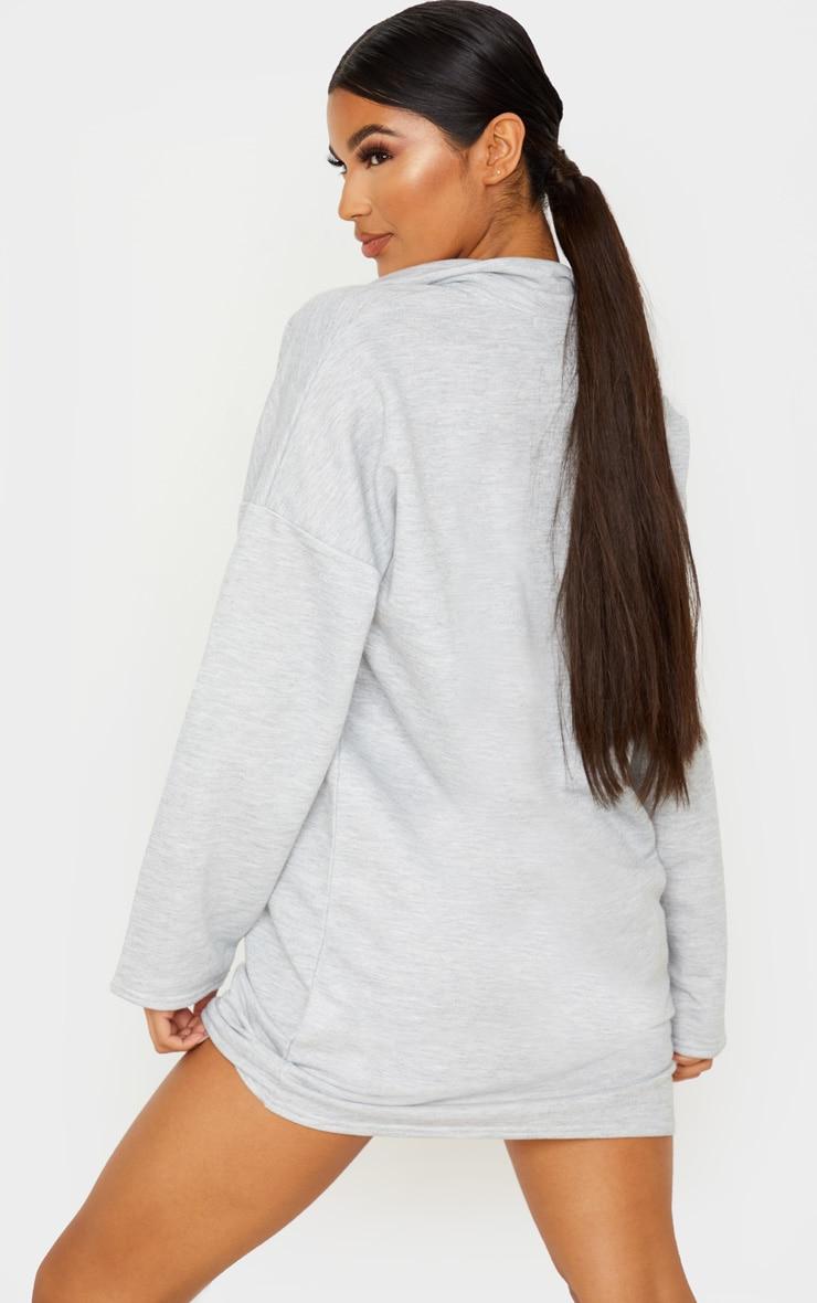 Grey Collar Detail Sweater Dress 2
