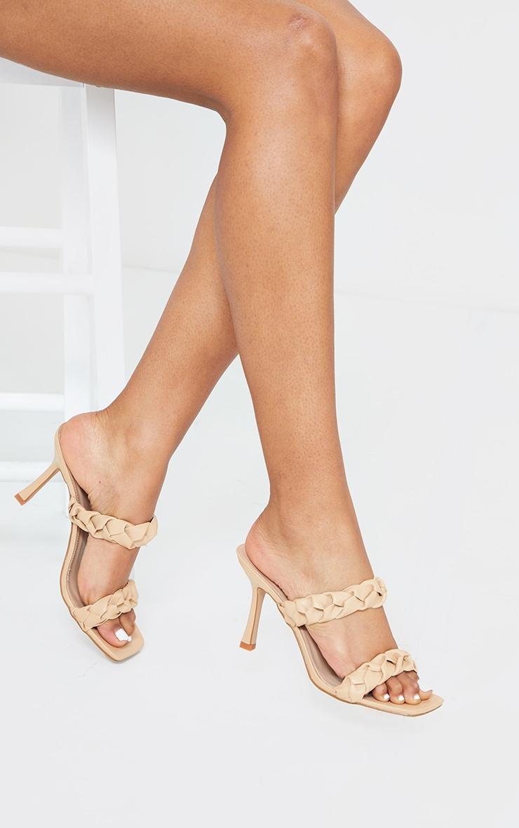 Sand Square Toe Twin Strap PU Plaited Mule Heels 1