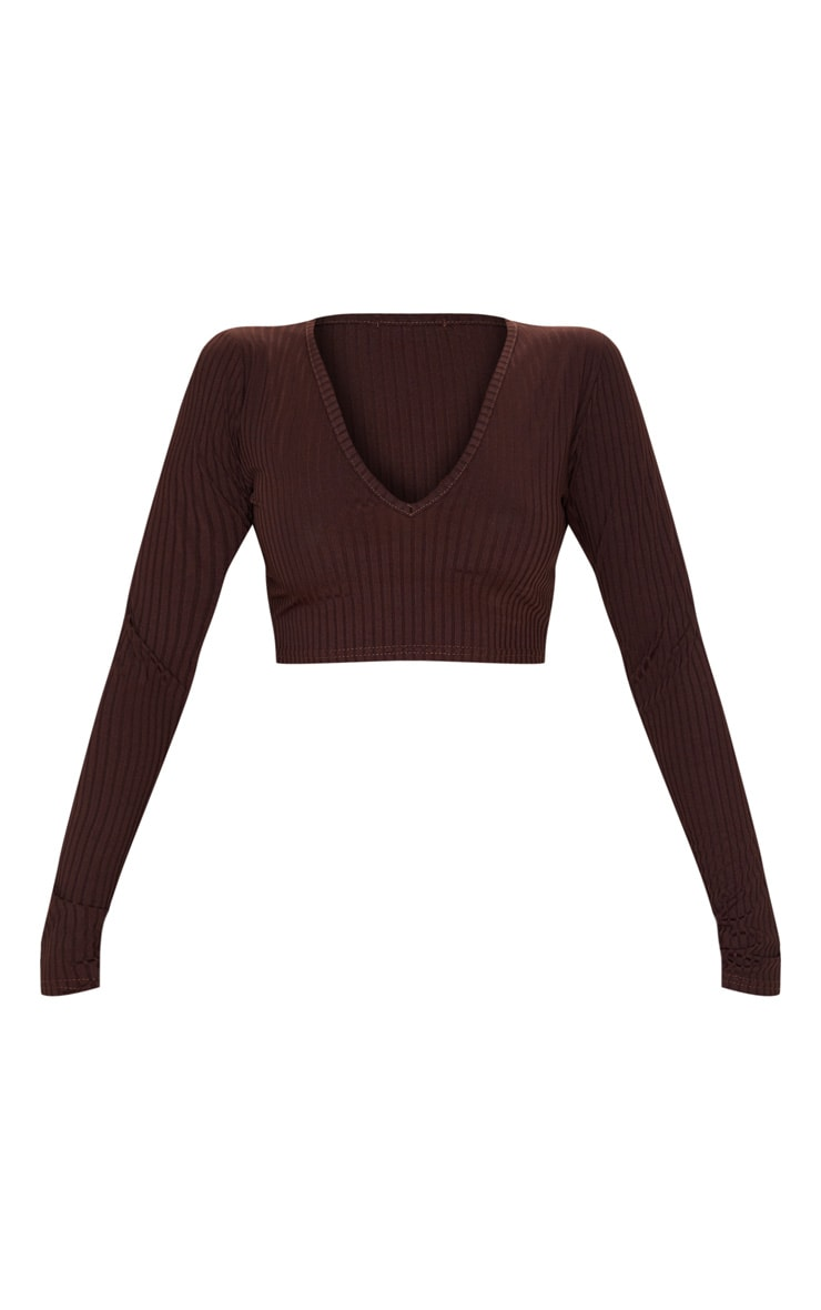 Brown Ribbed V Neck Long Sleeve Crop Top 3