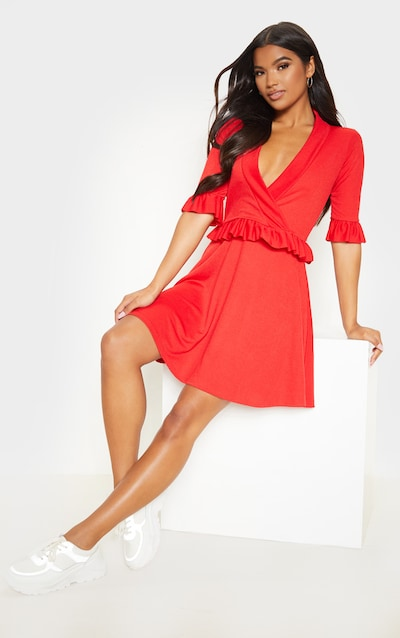 Red Frill Detail Skater Dress
