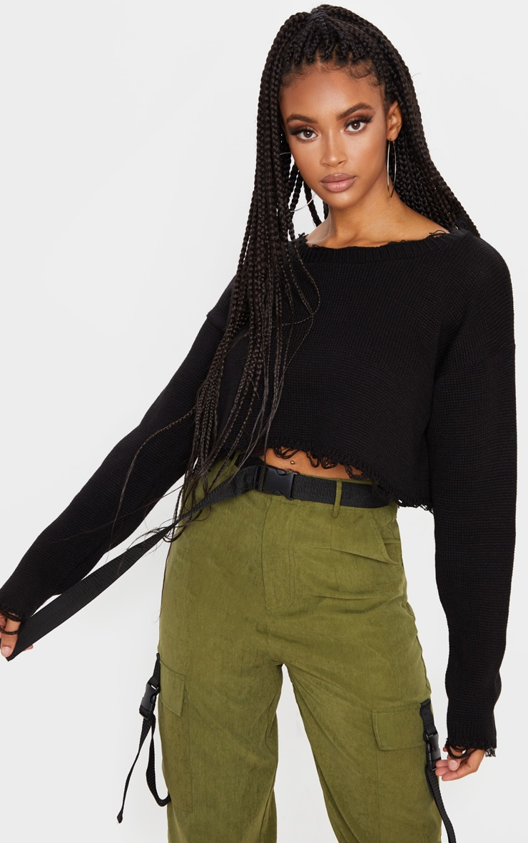 Black Fray Edge Crop Knitted Jumper 1