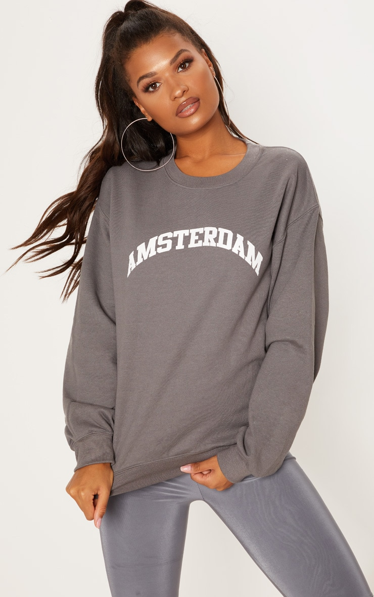 Charcoal Amsterdam Slogan Oversized Sweater 1
