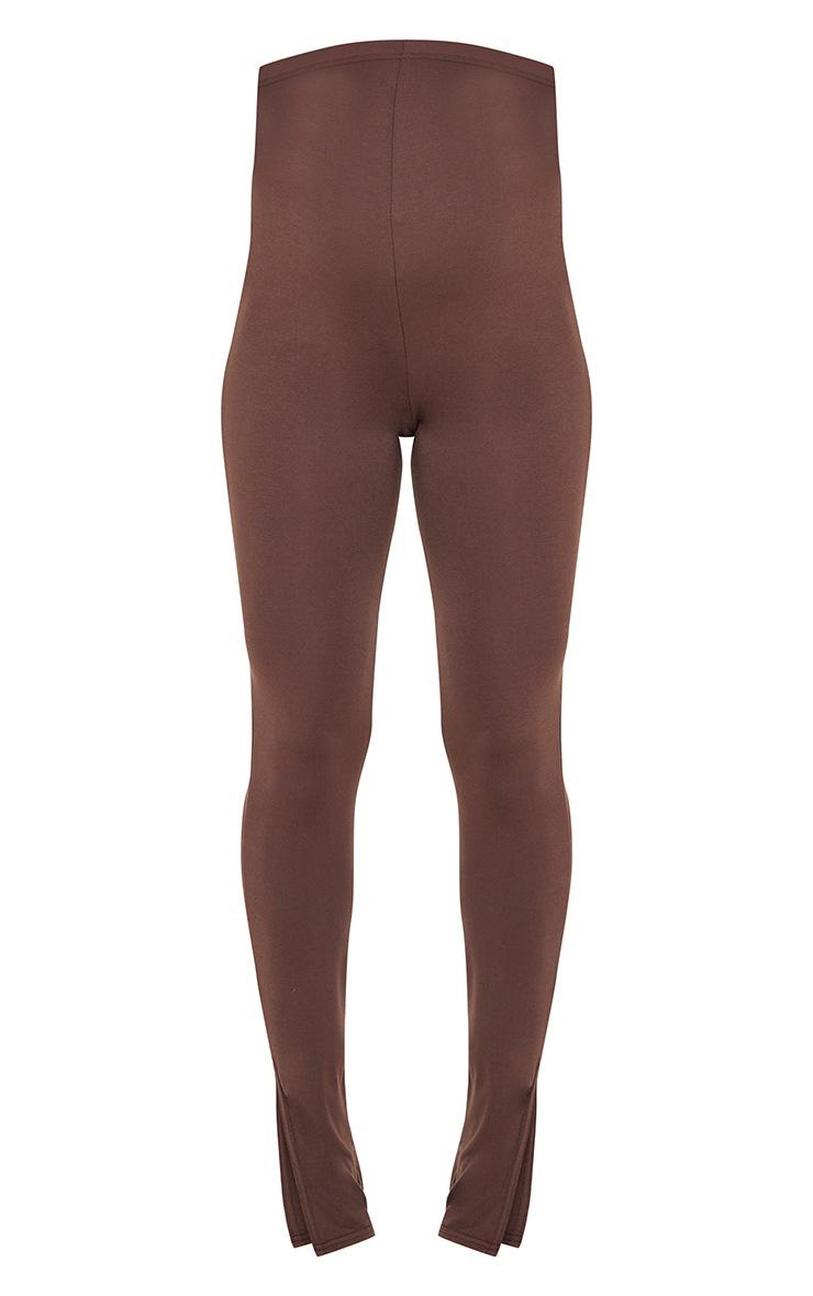 Maternity Chocolate Basic Split Hem Leggings 5