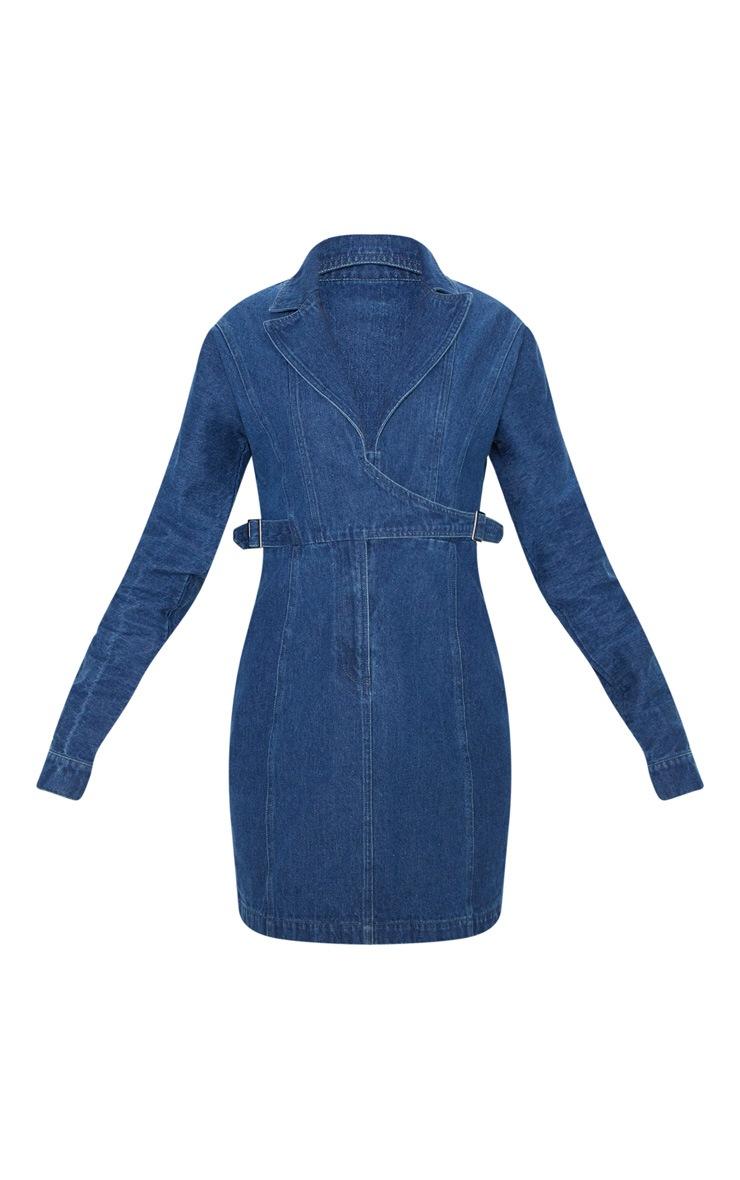Robe en jean délavé foncé à boucle sur les côtés et manches longues 3