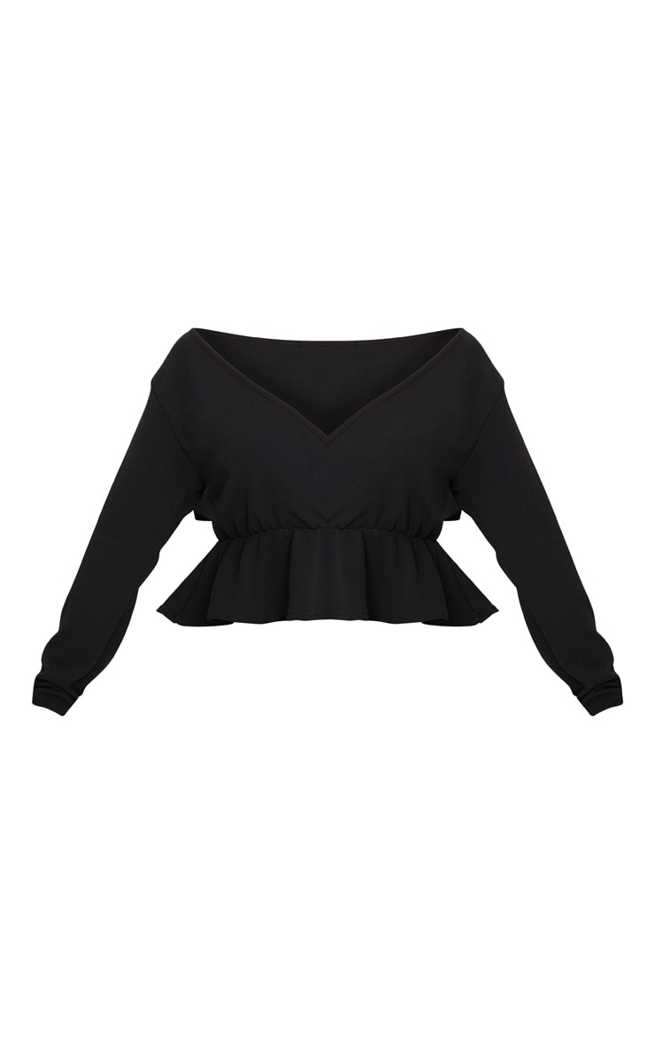 Plus Black Plunge Frill Hem Top 3