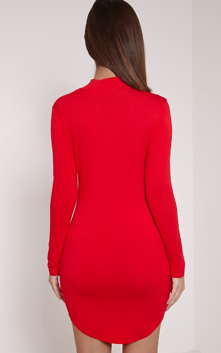 Alby robe col montant rouge à ourlet arrondi 2