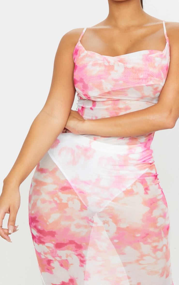 Shape Pink Tie Dye Mesh Cowl Neck Maxi Dress 4