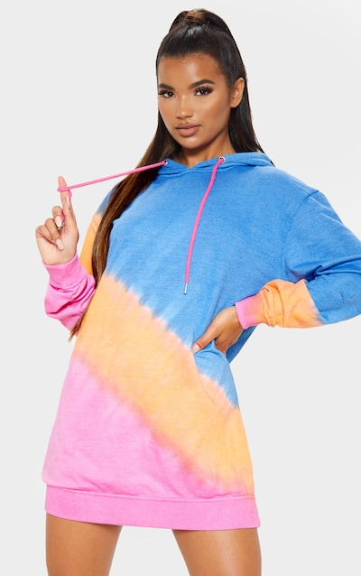 Multi Ombre Oversized Hoodie Dress