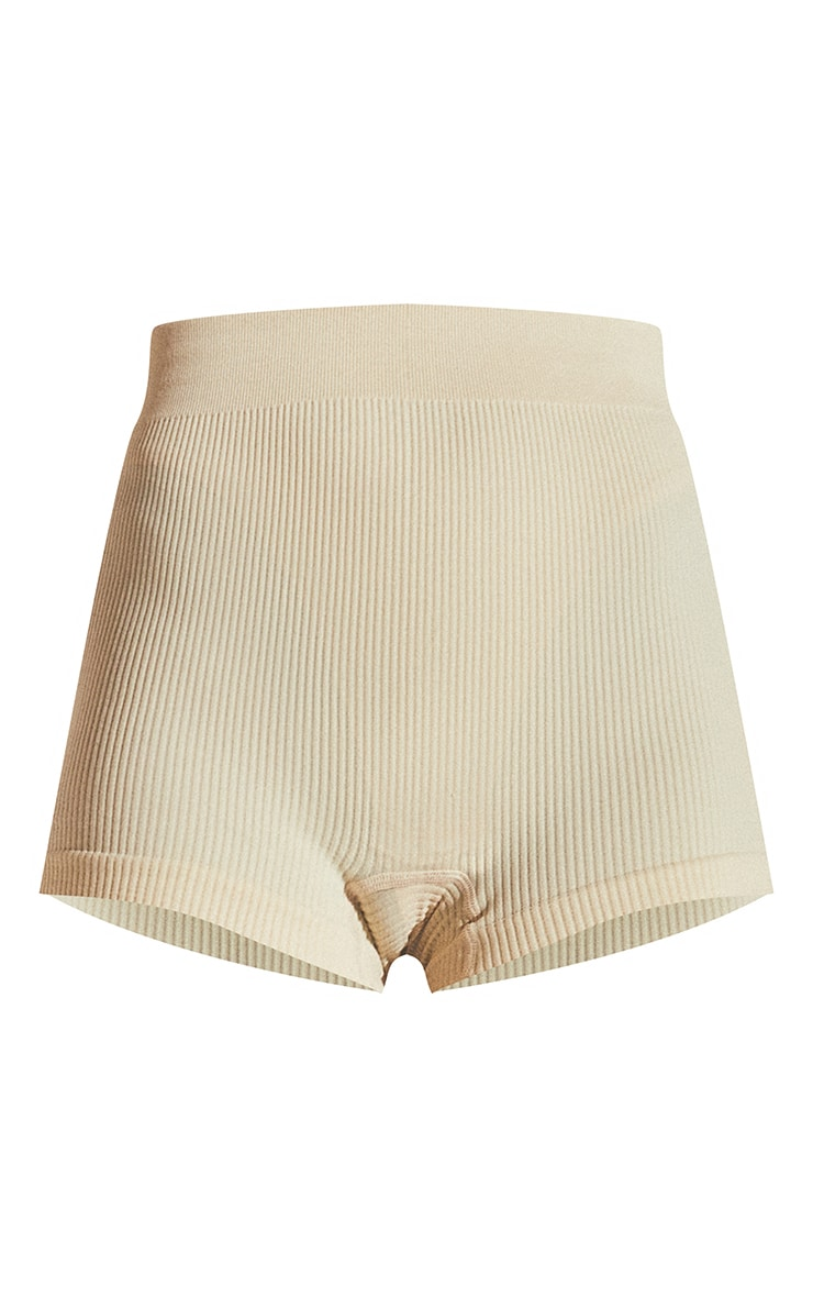 Cream Structured Contour Rib Hot Pants 6
