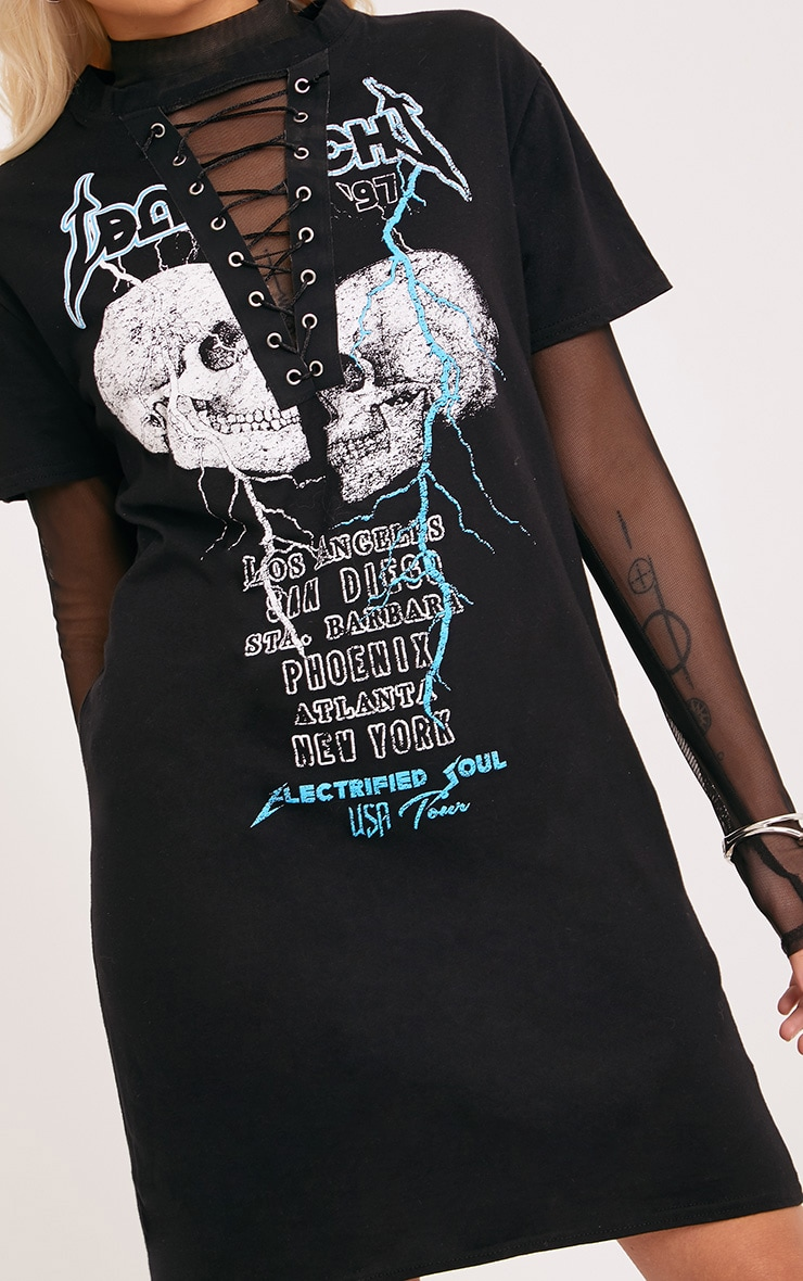 Bad Witch Lace Up T Shirt Dress Black 5