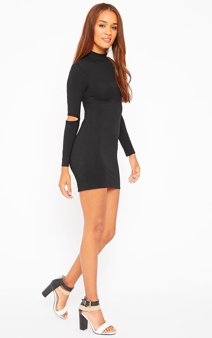 Basic Black Slit Elbow Jersey Mini Dress 3
