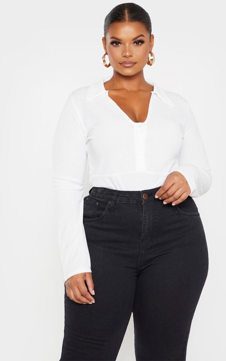 Plus Cream Button Collar Bodysuit 1