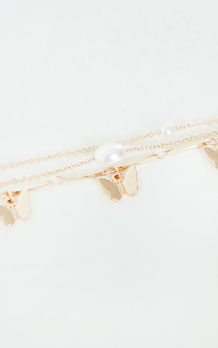 Gold Butterfly And Pearl Dainty Bracelets 2