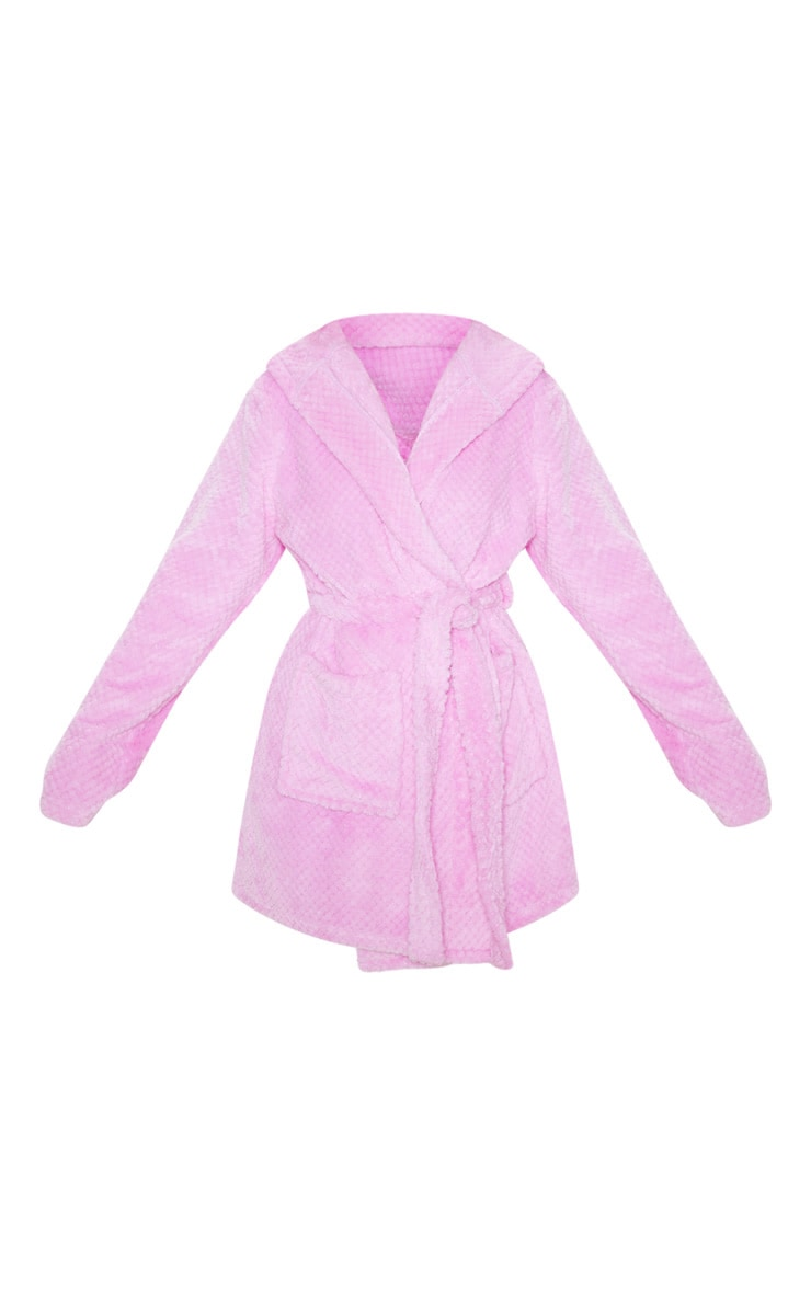 PRETTYLITTLETHING Lilac Textured Fluffy Dressing Gown 3