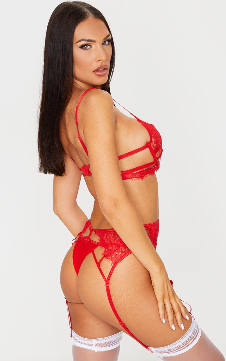 Red Eyelash Lace Strappy 3 Piece Lingerie Set 2