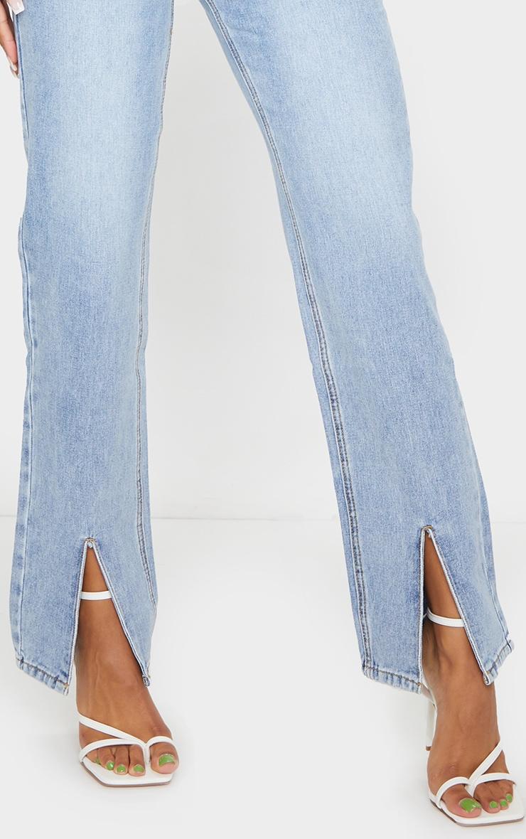 Light Wash Split Hem Straight Leg Jeans 4