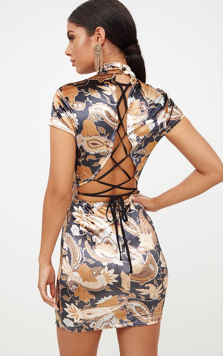 Black Velvet Floral Lace Up Back Bodycon Dress 2