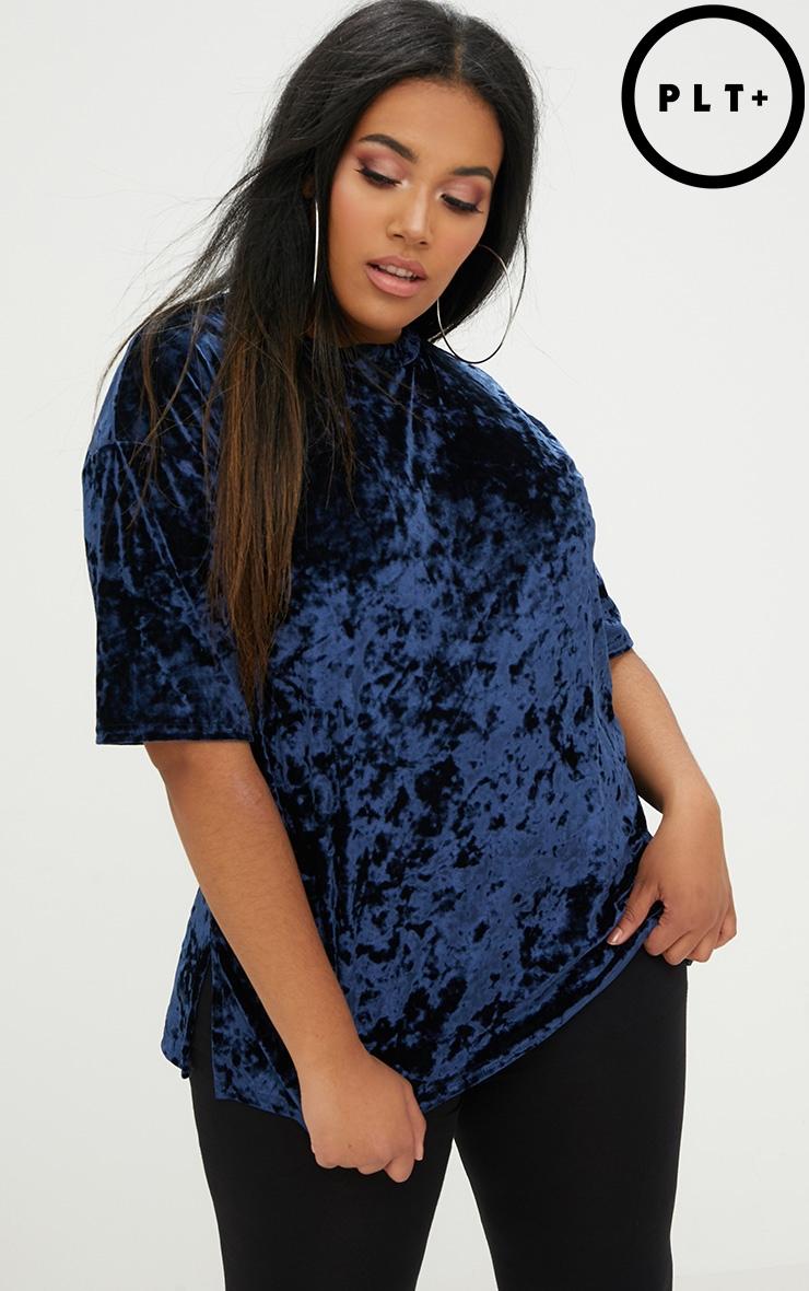 Plus Blue Velvet T-Shirt 1
