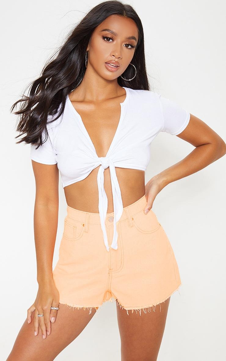 Petite Neon Orange Denim Shorts 1