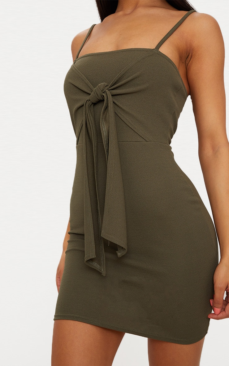 Khaki Strappy Tie Detail Bodycon Dress 5