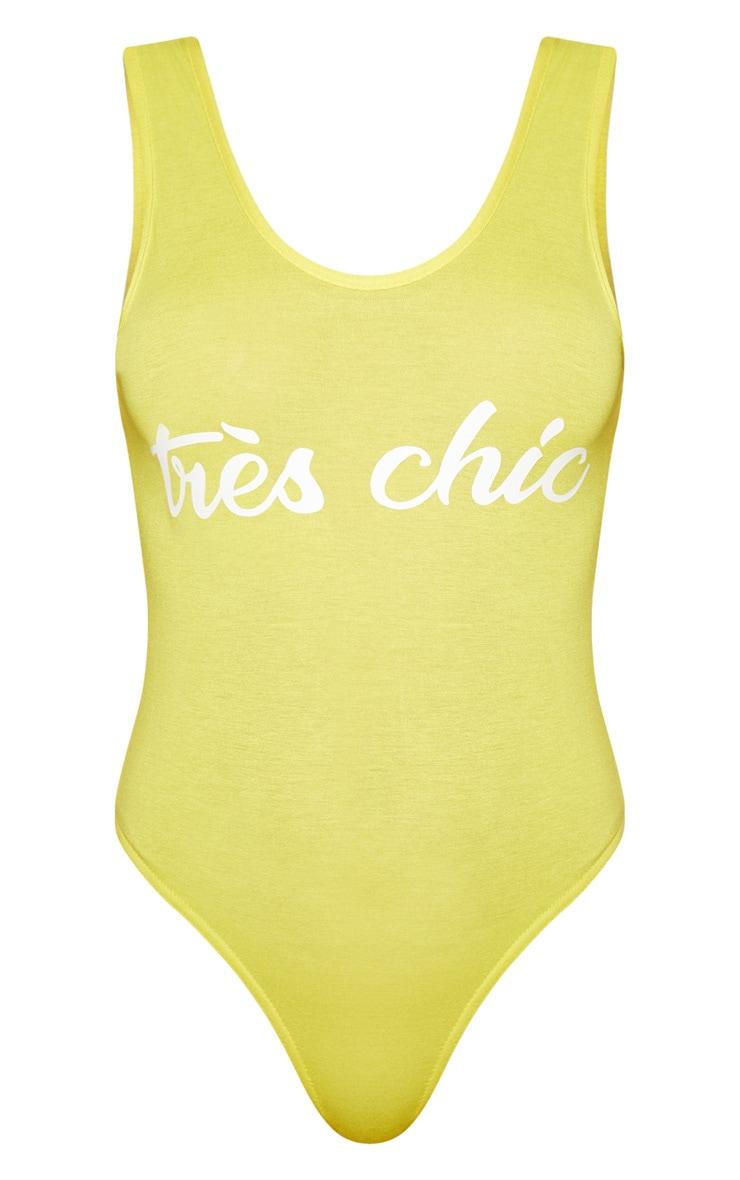 Yellow Tres Chic Slogan Jersey Scoop Neck Bodysuit 3